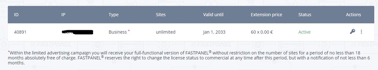 fastpanel license